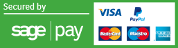 Secured with SagePay: VISA, MasterCard, PayPal, American Express